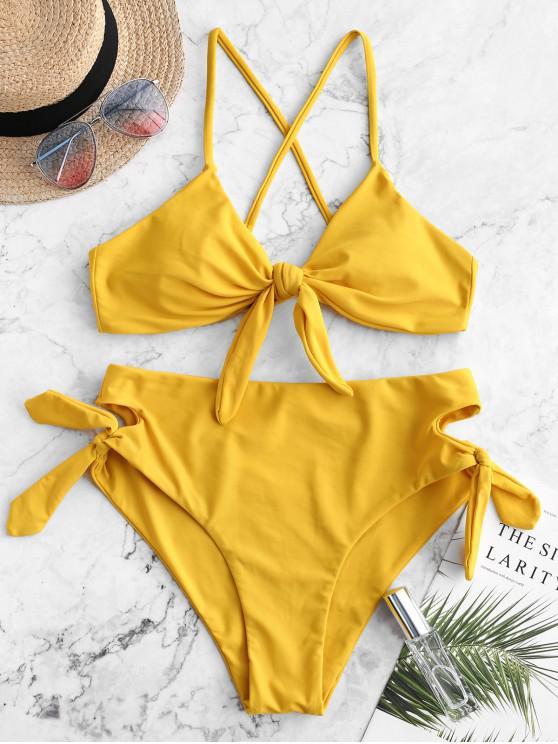 shops ZAFUL Tied Criss Cross Keyhole Bikini Swimwear - GOLDEN BROWN L