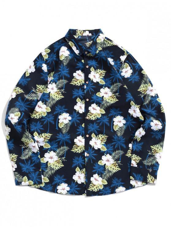 fashion Palm Tree Flower Leaf Print Vacation Beach Shirt - BLACK 3XL