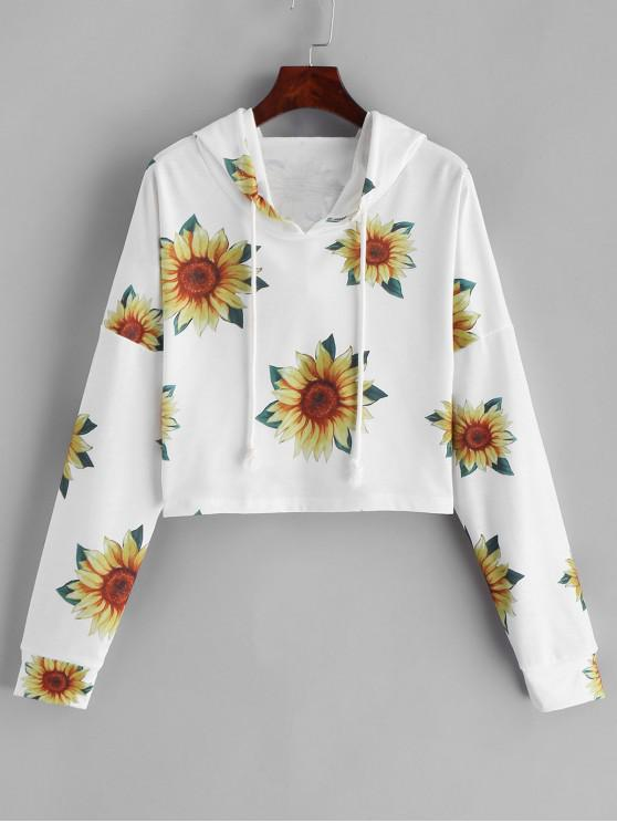 women's ZAFUL Drop Shoulder Cropped Sunflower Hoodie - WHITE M