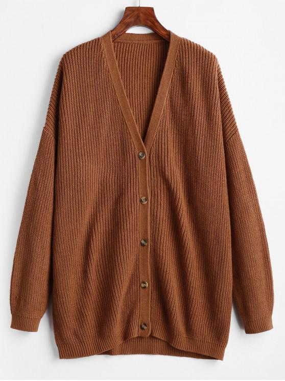 best Drop Shoulder Plunge Knit Tunic Cardigan - BROWN L