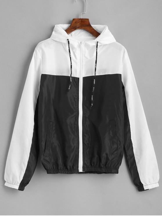 new Color Block Hooded Sport Drawstring Windbreaker Jacket - MULTI M