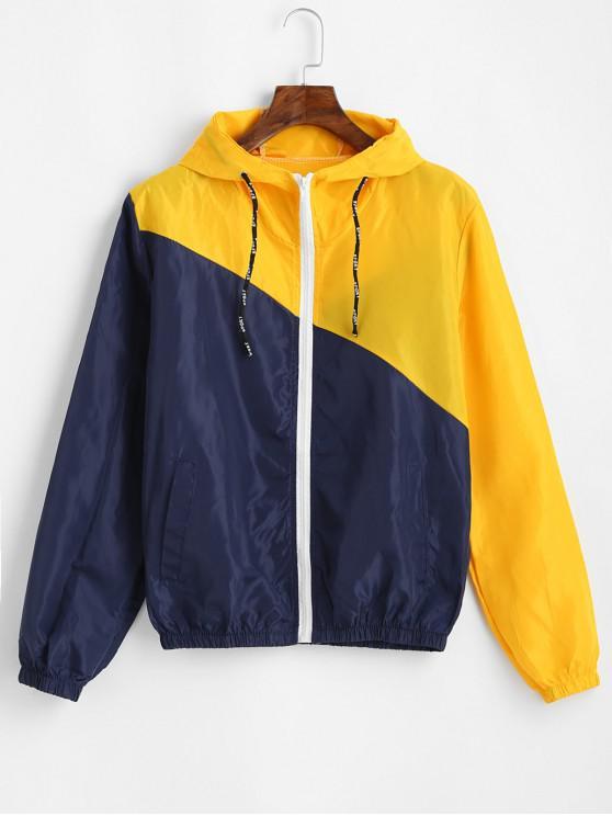 online Hooded Sport Graphic Color Block Windbreaker Jacket - MULTI L