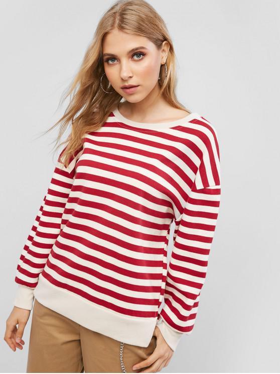 latest Drop Shoulder Stripes Slit Sweatshirt - CHESTNUT RED L