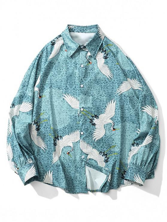 women Floral Flying Crane Print Drop Shoulder Button Shirt - MACAW BLUE GREEN M