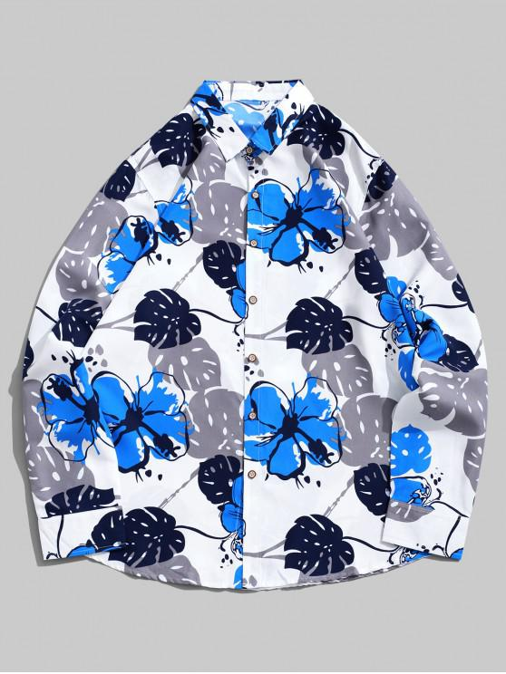 women Flower Print Long Sleeve Curved Hem Vacation Shirt - WHITE L