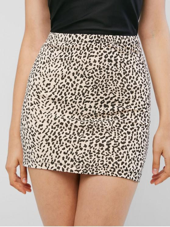 women High Waist Leopard Print Sheath Skirt - LEOPARD M