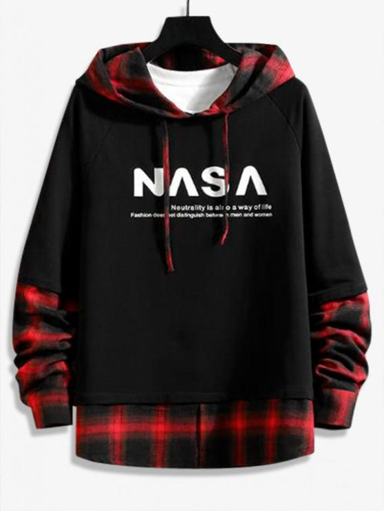 unique Plaid Splicing Letter Graphic Faux Twinset Raglan Sleeve Hoodie - LAVA RED 2XL