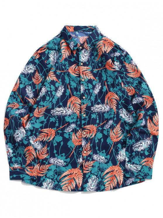 online Leaf Floral Print Long Sleeve Button Vacation Shirt - MULTI-A XL