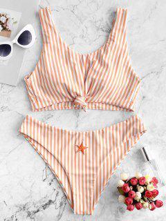 ZAFUL Knot Star Patch Striped Bikini Swimsuit - Light Salmon L