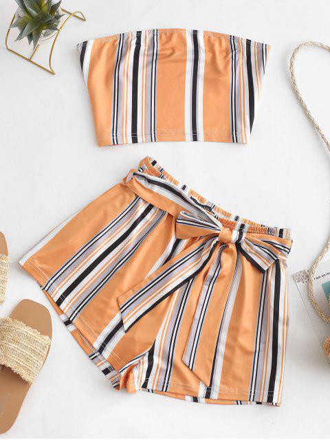 outfit ZAFUL Multi Striped Bandeau Two Piece Set - MULTI L Mobile