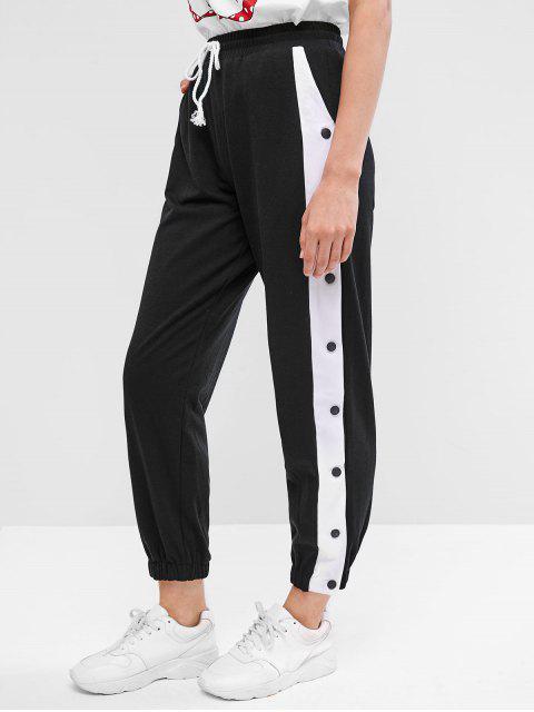 Pantalones de jogger con botones a presión en dos tonos - Negro S Mobile