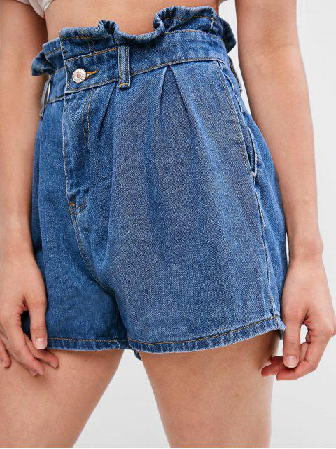 new Pockets Jean Paperbag Shorts - DENIM BLUE M Mobile