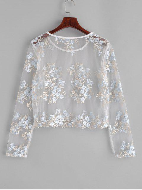 buy ZAFUL Floral Embroidered Sheer Mesh Blouse - MILK WHITE M Mobile