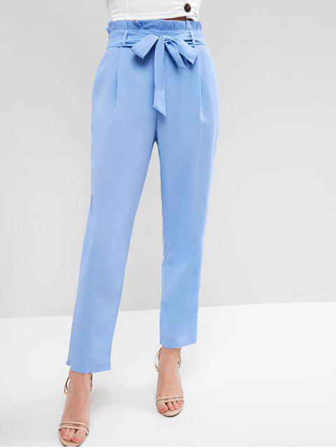 Pantalon Paperbag Ceinturé Droit - Bleu Léger  XL Mobile