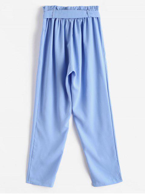 Pantalones de bolsa de papel con cinturón recto - Azul Claro M Mobile