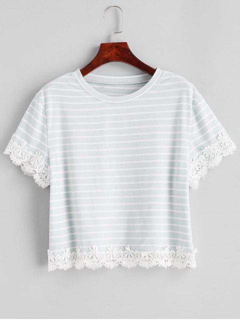 ZAFUL T-shirt Panneau Applique Rayé à Manches Courtes - Bleu Lys Pâle XL Mobile