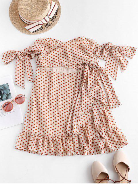ZAFUL Mini-Robe Nouée à Volants en Mousseline à Pois - Blanc Chaud L Mobile