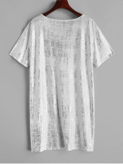 ZAFUL Robe Droite Lâche Brillante à Col V - Blanc Lait S Mobile