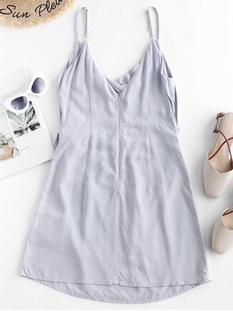 Mini-Robe Superposée Découpée Tordue en Avant à Bretelle Fine - Bleu Ciel Léger  M Mobile