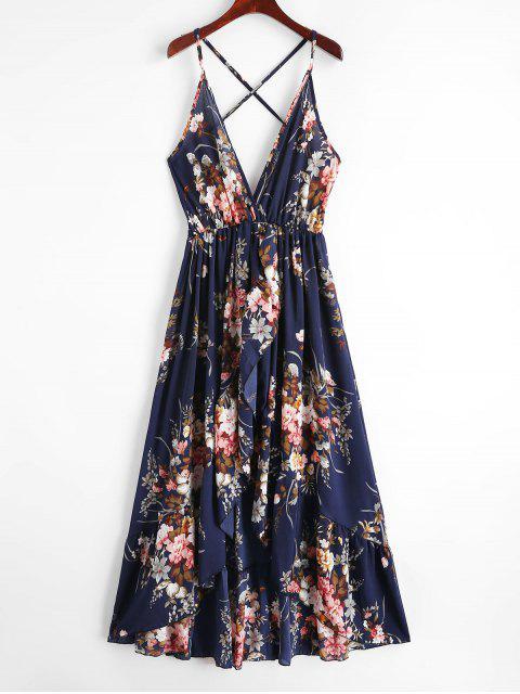 Robe Asymétrique Croisée Fleurie à Bretelle - Bleu de Minuit XL Mobile