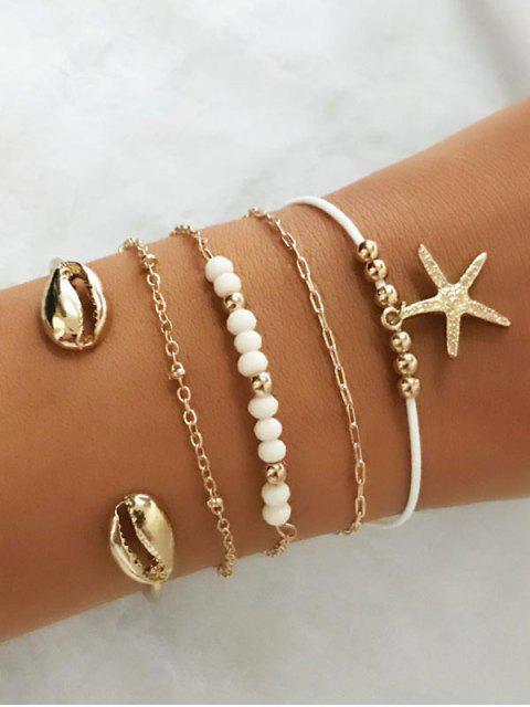 affordable 5PCS Shell Starfish Charm Bracelets - GOLD  Mobile