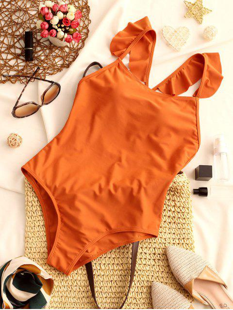 ladies ZAFUL Criss Cross Ruffled Straps Solid Swimsuit - RUST M Mobile