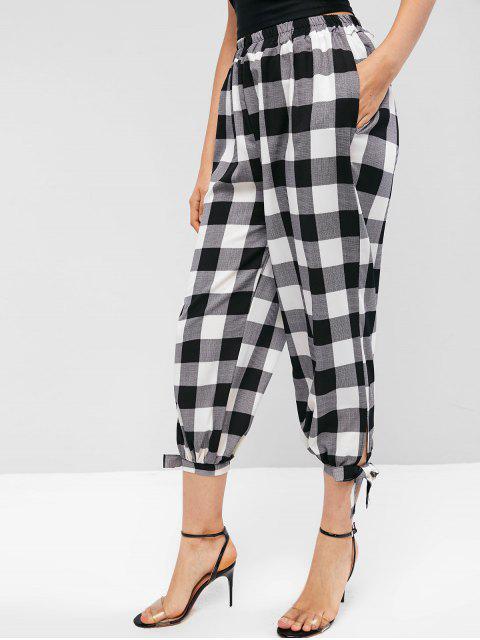 Costura de bolsillos de tela escocesa nudo pantalones jogger - Negro M Mobile