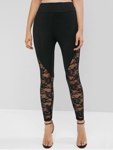 trendy High Waisted Pull On Lace Panel Leggings - BLACK M Mobile