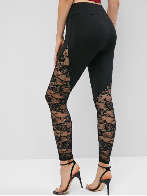 hot High Waisted Pull On Lace Panel Leggings - BLACK XL Mobile