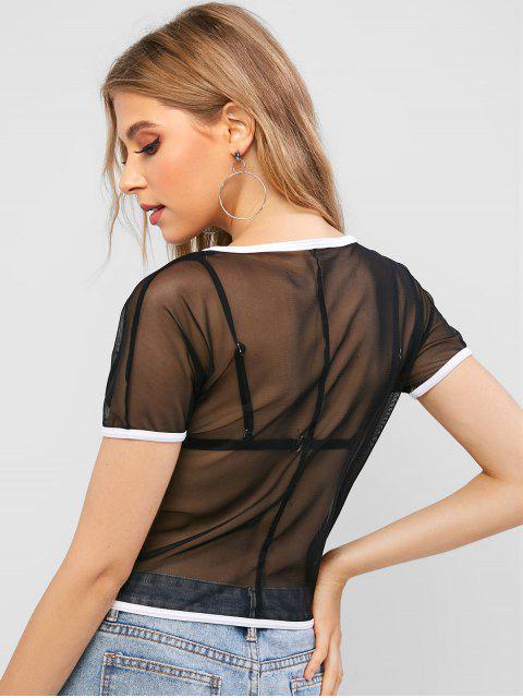Camiseta Ringer Mesh Crop - Negro S Mobile