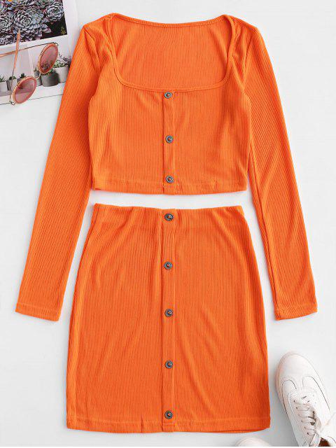 chic Neon Cropped Buttoned Ribbed Two Piece Dress - ORANGE M Mobile