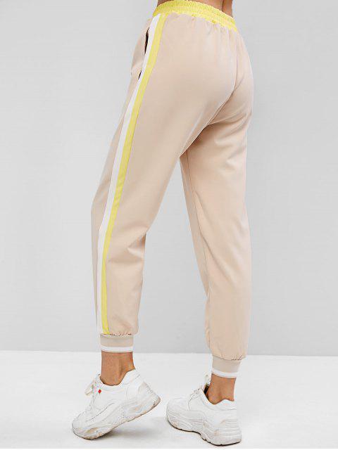 Costura de bolsillos Contraste rayas Panel Pantalón Jogger - Albaricoque S Mobile