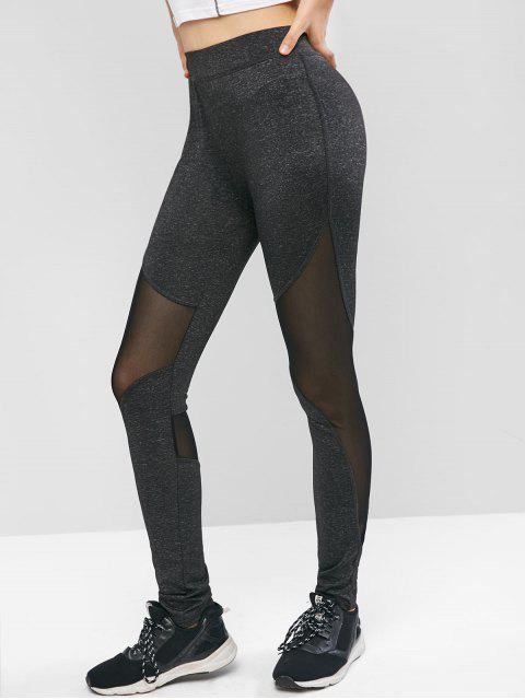 buy High Waisted Sheer Mesh Panel Sports Leggings - BLACK S Mobile