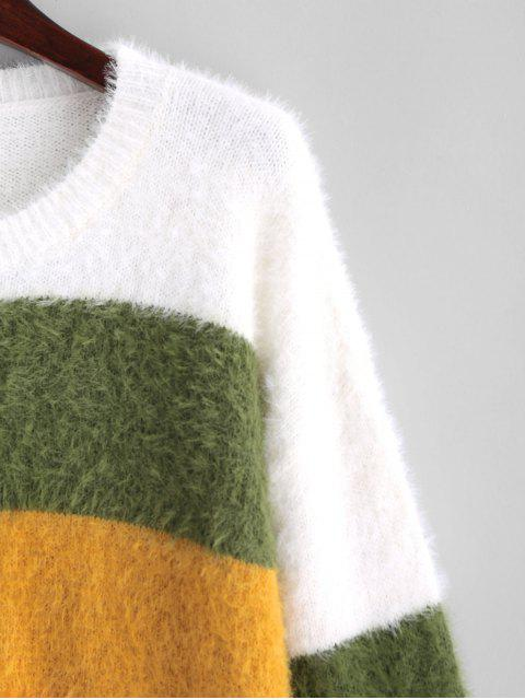 best ZAFUL Crew Neck Fluffy Color Block Stripes Sweater - MULTI ONE SIZE Mobile