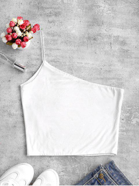 fancy ZAFUL Plain One Shoulder Crop Cami Top - WHITE M Mobile