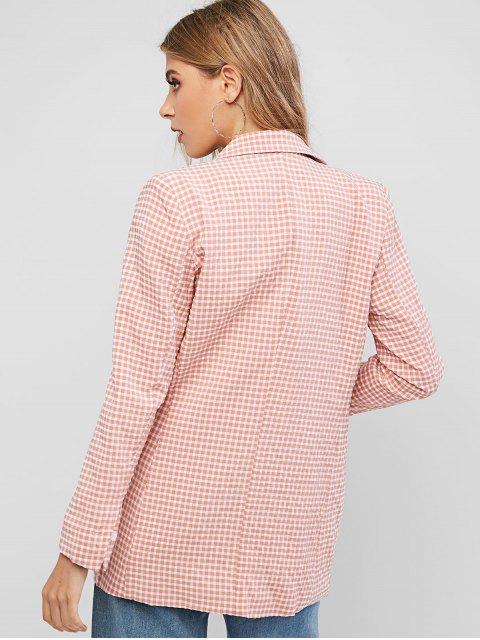 hot One Buttoned Flap Pockets Gingham Blazer - PINK S Mobile