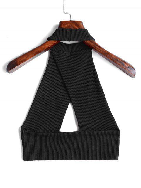 Corte sin espalda solapa sin mangas - Negro M Mobile