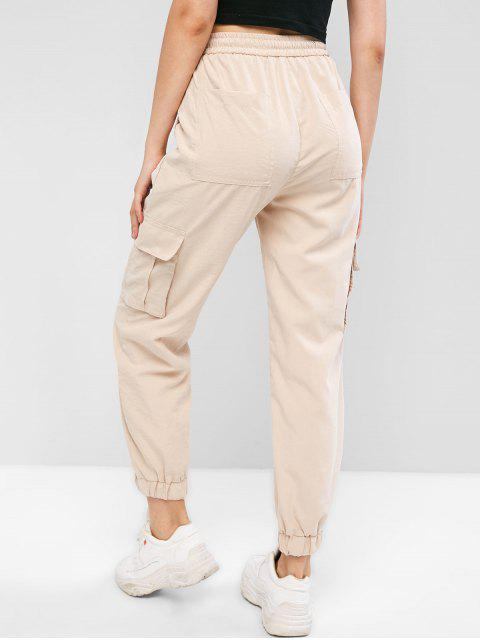 women's High Waisted Flap Pockets Jogger Pants - TAN M Mobile