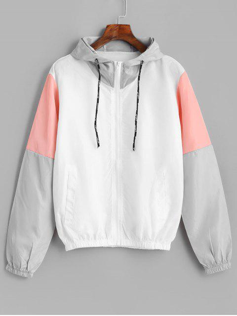 outfit Color Block Sport Drawstring Hooded Windbreaker Jacket - MULTI L Mobile