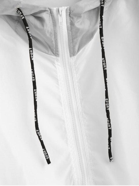 latest Color Block Sport Drawstring Hooded Windbreaker Jacket - MULTI S Mobile
