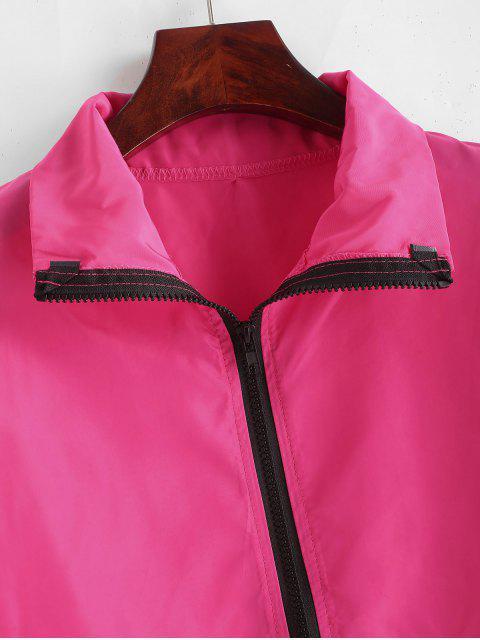 Chaqueta cortavientos con cremallera recortada - Rosa Roja M Mobile