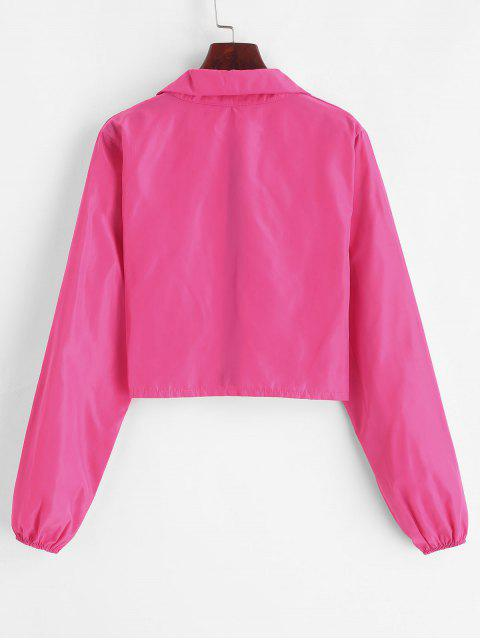 outfit Cropped Zip Up Windbreaker Jacket - ROSE RED M Mobile
