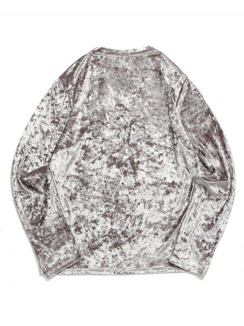 Camiseta sólida de manga larga con cuello en V sólido - Gris Claro L Mobile