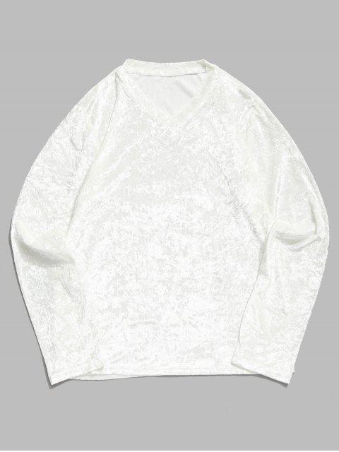 T-shirt Manches Longues en Couleur Unie à Col V - Blanc 2XL Mobile