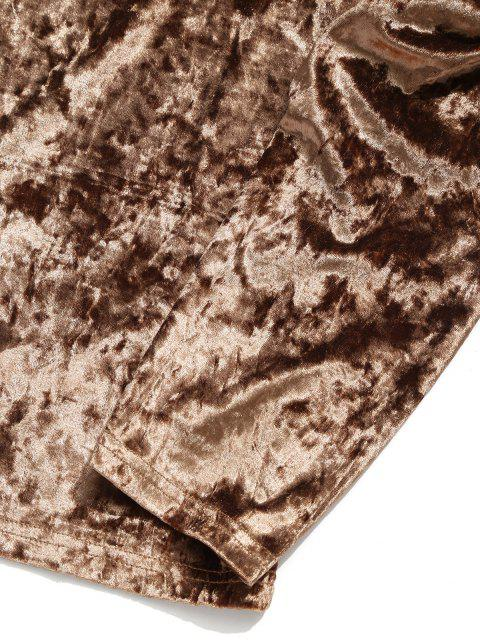 Camiseta sólida de manga larga con cuello en V sólido - Marrón M Mobile