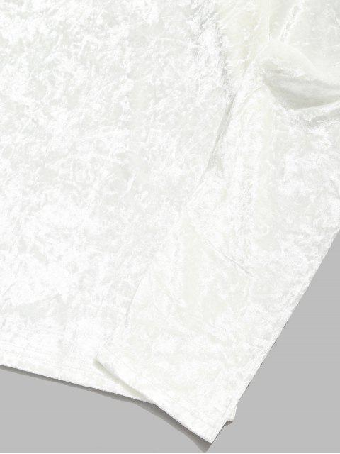 純色V領長袖純色T卹 - 白色 L Mobile