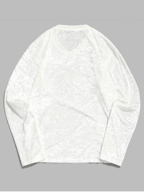 Camiseta sólida de manga larga con cuello en V sólido - Blanco XL Mobile