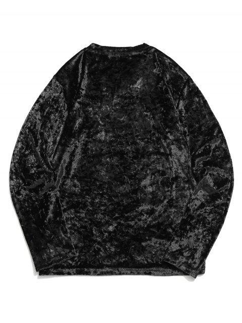 Camiseta sólida de manga larga con cuello en V sólido - Negro XL Mobile