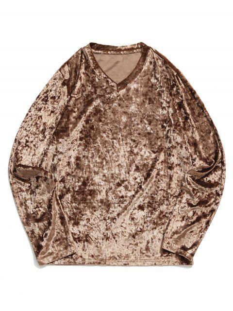 Camiseta sólida de manga larga con cuello en V sólido - Marrón XL Mobile
