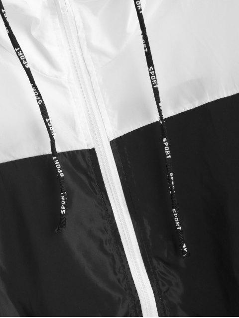 outfit Color Block Hooded Sport Drawstring Windbreaker Jacket - MULTI L Mobile